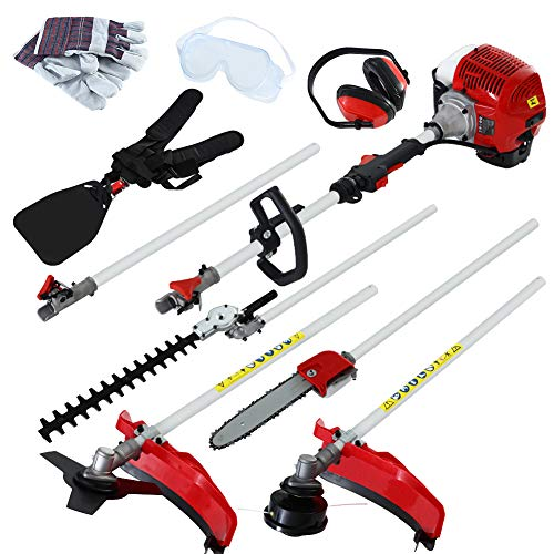 UWINGARDEN Petrol Multi Tool, Saving Oil Up to 50%, 52CC Multi Function Garden Tool, 4 in 1 Garden Tool Powerful: Hedge Trimmer, Brush Cutter, Grass Trimmer, Pruner Chainsaw & Extension Pole.