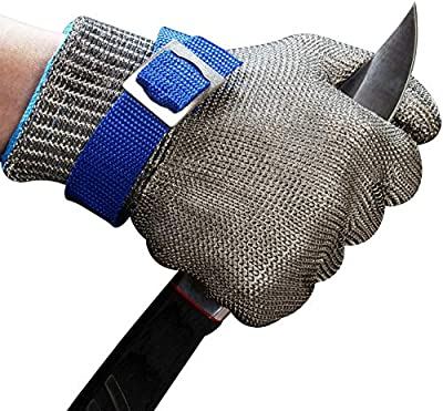 Schwer Cut Resistant Gloves Stainless Steel Wire Metal Mesh Butcher Safety Work Glove for Meat Cutting, fishing(Medium,2 pcs)