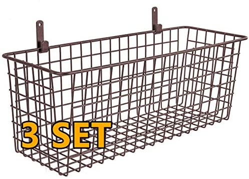 3 Set [Extra Large] Hanging Wall Basket for Storage, Wall Mount Sturdy Steel Wire Baskets, Metal Hang Cabinet Bin Wall Shelves, Rustic Farmhouse Decor, Kitchen Bathroom Organizer, Brown