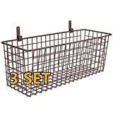 3 Set [Extra Large] Hanging Wall Basket for Storage, Wall Mount Sturdy Steel Wire Baskets, Metal Hang Cabinet Bin for Organizing, Rustic Farmhouse Decor, Kitchen Pantry Bathroom Accessories, Brown