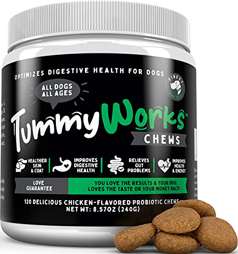 TummyWorks Probiotic Chews for Dogs. Relieves Diarrhea  Upset Stomach  Gas  Constipation & Bad Breath  Itching  Allergies & Yeast Infections. With Digestive Enzymes & Prebiotics. Made in USA 120 count