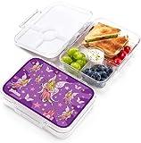 JARLSON® Brotdose für Kinder mit 4 Fächern - TÜV geprüft - Lunchbox aus Tritan - Bento Box auslaufsicher – Jausenbox für Kindergarten und Schule - Mädchen und Jungen - 850ml (Fee)