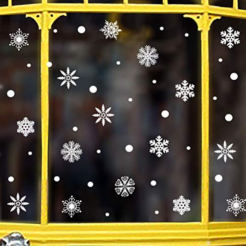 ❥YUYOUG Noël Flocons De Neige Stickers, Noël De Stickers Vitres Decoration de Noël Amovibles Statiques en PVC Noël Magasin Fenêtre Décoration, Rend la Maison Pleine de l'atmosphère de Noël (A)