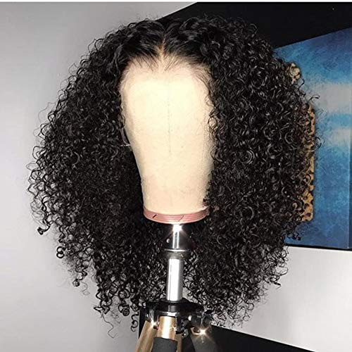Full Lace Human Hair Wig Glueless Lace Frontal Hair Kinky Curly Style Pre Plucked Hair Line with Baby Hair for Black Women by YOKADAHAIR (12inch, 360 wig)