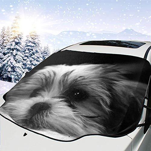 remmber me Shitzu Malteser Mix Puppy Car Windschutzscheibe Schneedecke Ice Cover Windschutzscheibe 57.9X46.5 Zoll Sonnenschutz Wasserdichter Windschutzscheibenschutz für Jeep Trucks Suvs Mpvs