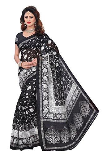 Indian bollywood wedding saree indisch Ethnic hochzeit sari new kleid damen casual tuch birthday crop top mädchen cotton silk women plain traditional party wear readymade Kostüm (Black)