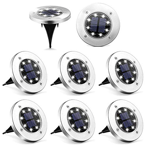 Solpex Solar Ground Lights 8 Pack, 8 LED Solar Powered Disk Lights Outdoor Waterproof Garden Landscape Lighting for Yard Deck Lawn Patio Pathway Walkway (White)