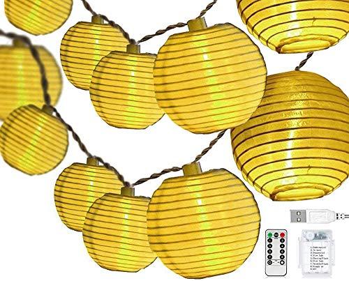 Led Lampions Außen, 30er LED Lichterkette Batterie/USB Wiederaufladbar, 8 Modus Wasserdicht Außen/Innen für Garten Hochzeit, Balkon, Haus, Weihnachten Deko [Energieklasse A++]