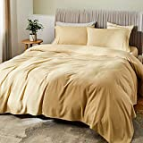 SONORO KATE Bed Sheet Set Bamboo Sheets Deep Pockets 16' Eco Friendly Wrinkle Free Sheets Hypoallergenic Machine Washable Hotel Bedding Silky Soft (Cream, King)