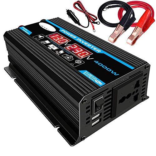 ER827QI Transformador de Voltaje 2000W 12V a 220V / 110V LED de energía del Coche del inversor del convertidor del Adaptador del Cargador USB de Doble Onda sinusoidal modificada (Azul, Negro)