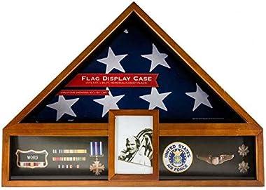 Military Veteran Flag and Medal Display Case - Shadow Box