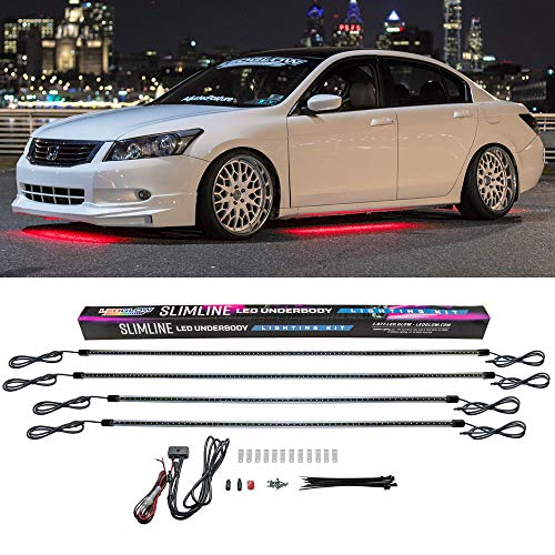 LEDGlow 4pc Red Slimline LED Underbody Underglow Accent Neon Lighting Kit for Cars - Solid Color Illumination - Water Resistant, Low Profile Tubes - Included Power Switch Turns Lights On & Off