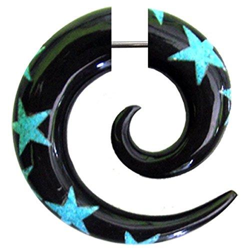 Chic-Net Fake Piercing Horn Sternen Spirale schwarz türkis Bone-Inlay- Expander- Ohrhänger- Ohrstecker