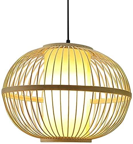 Bvvv Lámpara colgante de techo de mimbre Lámpara colgante de bambú RATAN RATAN MERCKER Lámpara de tela Lámpara de tela Lámpara colgante de bambú con tonos de bambú for comedor E27 Ajustes de cabeza in