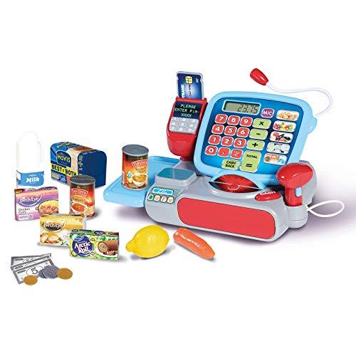 Elektronische Spielzeug Kasse Supermarktkasse mit Geräuschen Scanner EC Kartengerät Kaufladen Zubehör Spielkasse Spielgeld Lebensmittel Kaufmannsladen Lernspielzeug Taschenrechner Funktion ab 3 Jahren