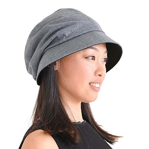 CHARM Casualbox | Damen Sonne Hut Bio Baumwolle Japanisch Design Weich UV Schutz Dunkelgrau