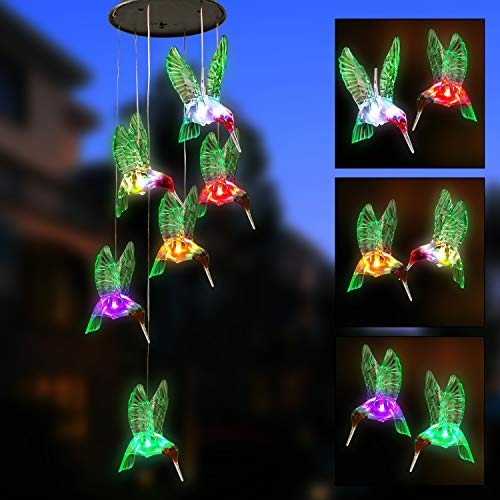 Joiedomi 2 Solar Hummingbird Wind Chimes Color Changing LED Outdoor Hanging Decorative for Christmas Garden Lights Xmas Home Decor Birthday Gifts Patio Yard Indoor Outdoor