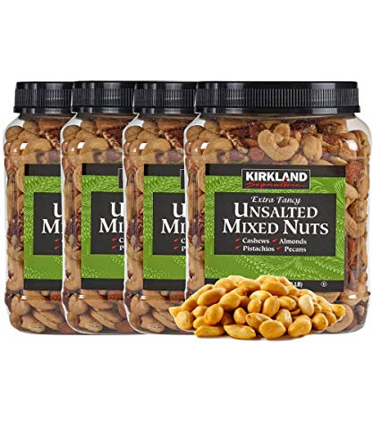 Kirkland Signature Extra Fancy Mixed Nuts Unsalted and Shelled 40 oz (Pack of 4), 1 Pack of Roasted Virginia Peanut Also Included by Bulkidoki