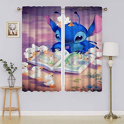 lacencn Cortina de salón The Adventures of Lilo & Stitch de ahorro energético para sala de estar, 63 x 45 cm