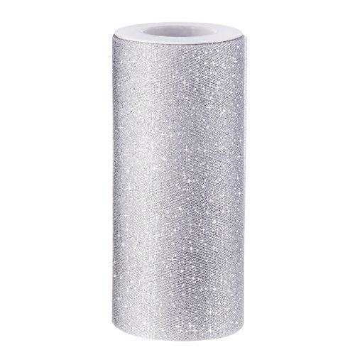 White Glitter Tulle Fabric