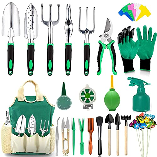 AOKIWO 83 Pcs Garden Tools Set Succulent Tools Set, Heavy Duty Aluminum Manual Garden Kit Outdoor...