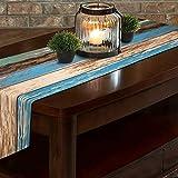 Bateruni Maserieren Quaste Tischläufer, Braun Blau Baumwolle Leinen Tischwäsche Matte, Umweltfreundlich Strapazierfähig Tischband für Esszimmer Party Urlaub 35 * 180cm - 7
