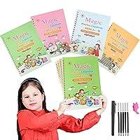 2021 特大マジックプラクティスコピーブック 子供用 4ピース 10.3 x 7.3インチ 再利用可能な書道ワークブックセット 手書きトレースブック 幼稚園 子供用 3~7歳 手書き図面算数学
