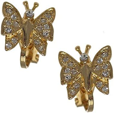 ISAURA Gold Plated Crystal Butterfly Clip On Earrings
