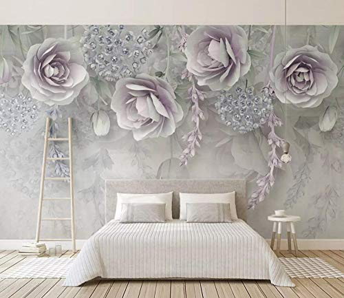 Tapete 3D Wandbild Geprägte Lila Blumen Schön Fototapete 3D Effekt Vliestapete Wohnzimmer Wanddeko