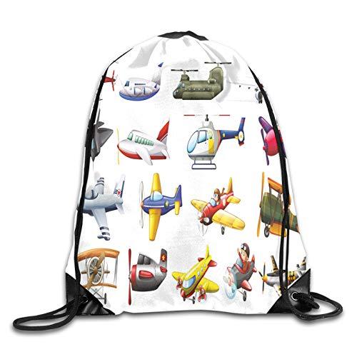 Drawstring Bag Sport Gym Sackpack-Digital Representation Of Aero Vehicles Aircrafts Commercial Planes Pattern,Drawstring backpack Mouth Gym Sack Rucksack Shoulder Bags For Men & Women