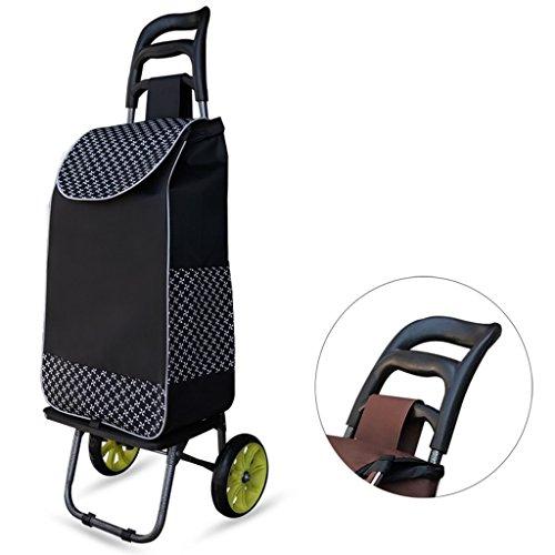 Yxsd Chariot à Bagages de Grande capacité à 2 Roues avec Panier à Bagages de Grande capacité - Noir (Color : Black-A)