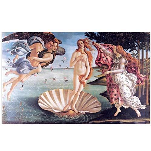 YANGMENGDAN Druck auf Leinwand Klassisches berühmtes Gemälde Botticellis Geburt der Venus Poster Wandkunst Gemälde für Wohnzimmer Wohnkultur 60 x 90 cm (23,6 x 35,4 Zoll) ohne Rahmen