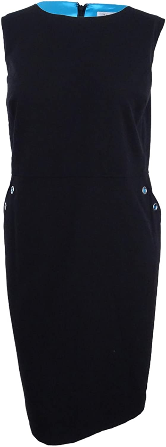 Tahari ASL Womens Grommet Detail Sleeveless Wear to Work Dress