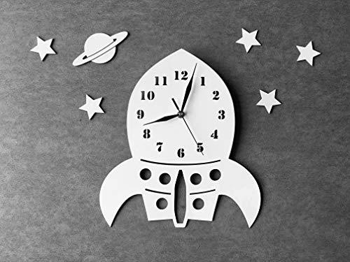 BABEES Kinder Wanduhr Rakete mit Sterne und Planet, Uhr ohne Tickgeräusche, Kinderuhr Weltall für Kinderzimmer, Lautlos Uhrwerk, Wanddeko Scandi Deko (Rakete)