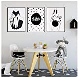 Fox Rabbit Cartoon Animal Print NordicBaby Nursery Wall Art Canvas PaintingPosters Personal Personal Decor-40x60cmx3 sin Marco