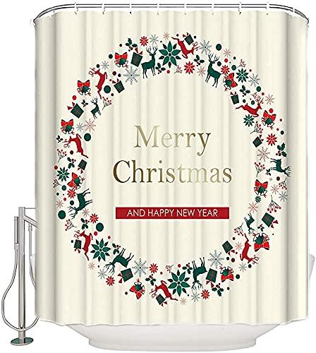 ZXYAIAN Cortina de ducha con diseño de feliz Navidad, guirnalda de Año Nuevo, cortina de baño de tela decorativa impermeable con ganchos, tamaño estándar de 156 x 172 cm
