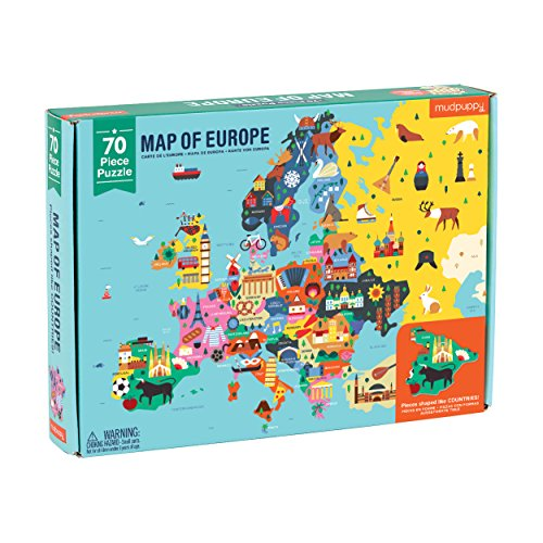 "Mudpuppy Map of Europe Puzzle, 70 Pieces, 22""x17.25"" – Perfect for Kids Age 5-9 - Learn Countries of Europe by Name, Shape, Location – Double-Sided Geography Puzzle with Pieces Shaped as Countries"