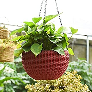 Generic Round Hanging Planter, (2 Pcs) Plastic Resin Chain Basket Hanging Pot, Growers Hanging Planter Decor Pot in Maroon...