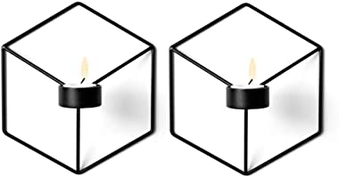 Sziqiqi Geometric Candle Sconce Tea Light Candle Holder, Wall Ornament, 2 Pcs Black, 3#