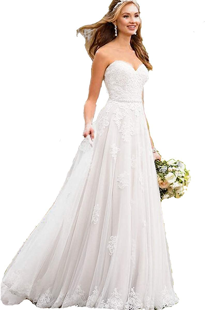 HDSLP Lace Strapless Wedding Dress Long Sweetheart A Line Bridal Gown with  Beading Belt