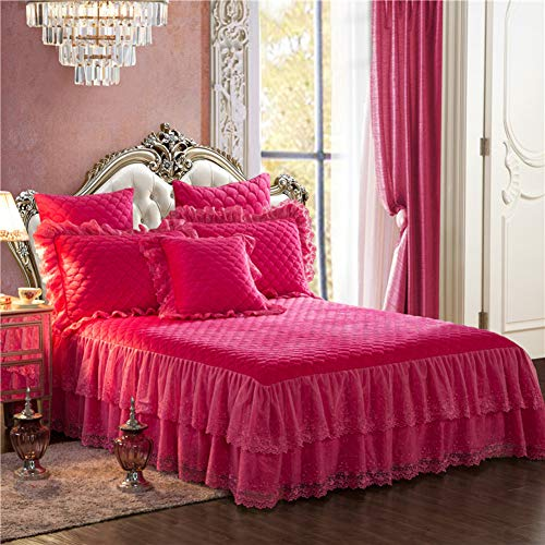 Save %41 Now! BKBS Embroidered Bed Skirt, Quilted Bed Valance Bedspread Lace Bedding Wrinkle and Fad...