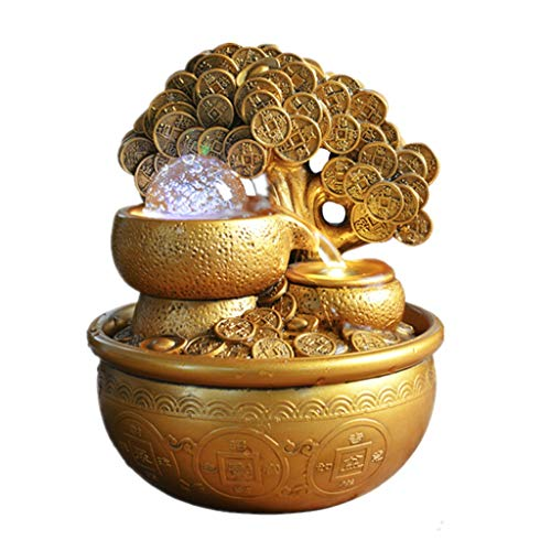 ZJY Tabletop Fountains Creative Table Fountain Gold Lucky Tree Rotating Crystal Ball Desktop Ornamental Resin Water Fountain for Fengshui Home Decoration Tabletop Water Fountain (Color : Gold)