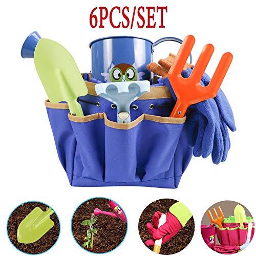 6 PCS/Set Herramientas Jardinería Niños,Herramientas de Jardinería de Juguete,para jardín de jardín Guantes Exteriores de Pala de Metal Kettle Set de Lona/Pala/Rastrillo/Tenedor