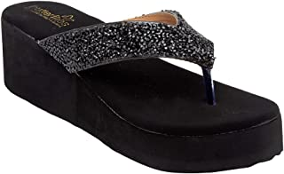 Butterflies Steps Latest Collection, Comfortable Wedges Sandal for Women's & Girl's(Black)(GHS-0083BK)
