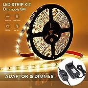 AMBOTHER LED Streifen Warmweiß 5M 300 LED Lichtband mit Netzteil Dimmbar LED Strip Set LED Bänder Lichterkette Stimmungslicht für Deko Kinderzimmer Fenster Selbstklebend Schneidbar (3000K)