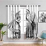 Alicia en el país de las maravillas - Cortina extralarga, color blanco y negro Alicia mirando a través de cortinas ocultas para puerta de aventura, café, color negro y blanco 84 x 200 cm