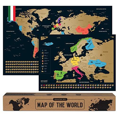 Mappa del Mondo da Grattare I Cartina Mondo I Italiano I Più Mappa Europea I 68 X 43 CM I Mappamondo da Grattare I Scratch off Map I Mappa da grattare I Cartina Geografica Mondo da Grattare