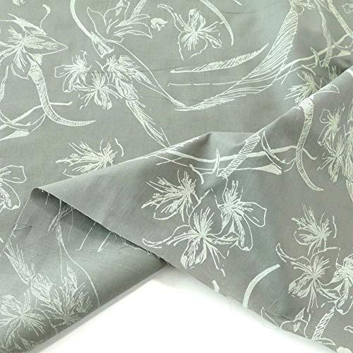 TOLKO Baumwollstoff aus Oeko-Tex Baumwolle | Bunt kräftige Farben | weiche Baumwoll-Popeline zum Nähen Dekorieren | Kleiderstoff Dekostoff Bezugsstoff Meterware 50cm (Grau Creme Lilie)