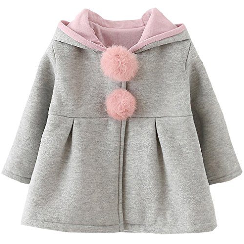 Baby Girls Winter Autumn Cotton Warm Jacket Coat (2T, Gray)