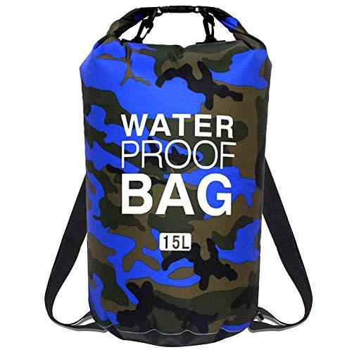 Borsa impermeabile,BESLIME Zaino da Spiaggia Sacca impermeabile da 15L, Kit impermeabile con Zaino Dry Bag, Waterproof Phone Case perfetto per kayak, barca, canottaggio, pesca, rafting, nuoto, camping
